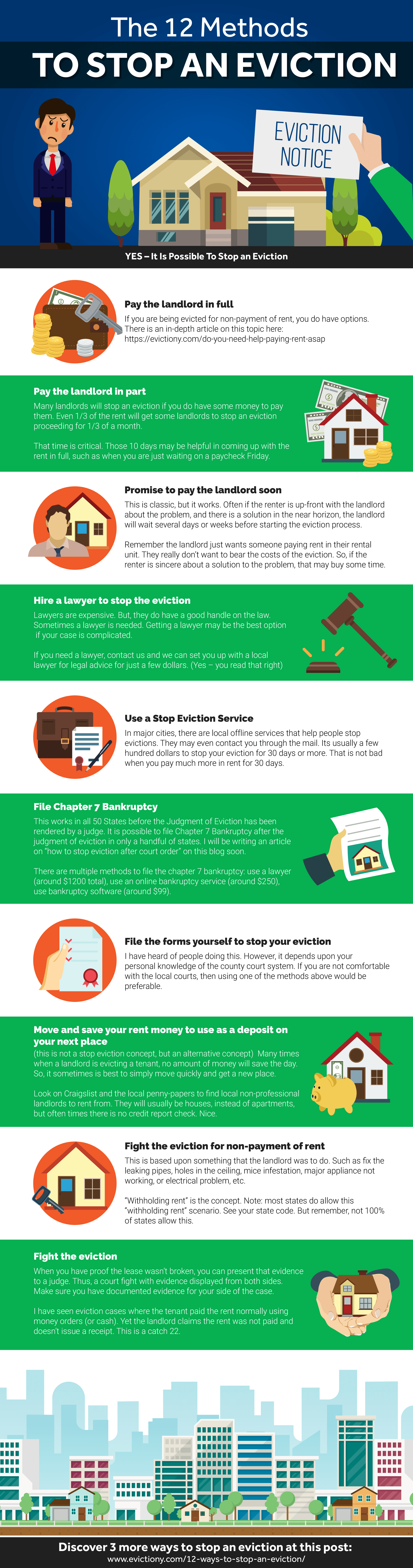 The 12 Ways to Stop an Eviction Infographic